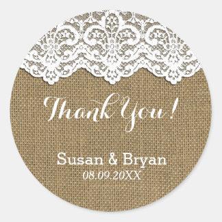 Classy White Lace & Burlap Thank You Sticker