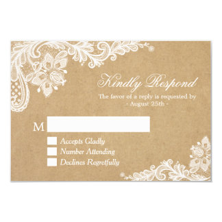 Classy White Lace in Kraft Wedding RSVP Reply Card