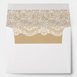 Classy White Lace Pattern Kraft Wedding 5x7 Envelope