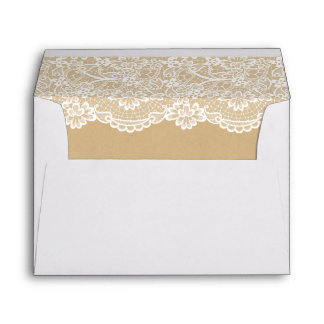 Classy White Lace Pattern Kraft Wedding 5x7 Envelope