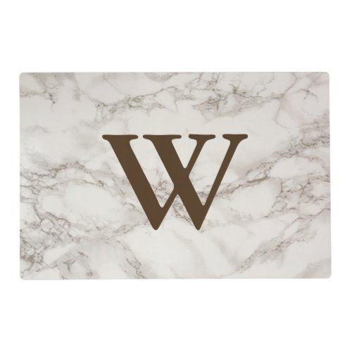 Classy White Marble Look Family Initial Letter Placemat