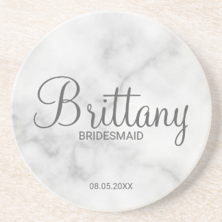 Classy White Marble Personalized Bridesmaids Coaster