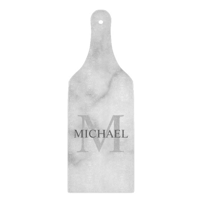 Classy White Marble Personalized Monogram and Name Cutting Board