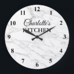 "Classy white marble stone kitchen wall clock<br><div class=""desc"">Classy white marble stone background texture kitchen wall clock design with numbers. Elegant print for kitchen, business, shop, company, wedding, dental practice etc. Add your own custom name, monogram initial letters, inspirational quote, fun saying, quotation etc. Chic wall decoration for waiting room, school, home, office, job, work etc. Custom home...</div>"