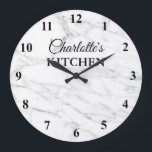 """Classy white marble stone kitchen wall clock<br><div class=""""desc"""">Classy white marble stone background texture kitchen wall clock design with numbers. Elegant print for kitchen, business, shop, company, wedding, dental practice etc. Add your own custom name, monogram initial letters, inspirational quote, fun saying, quotation etc. Chic wall decoration for waiting room, school, home, office, job, work etc. Custom home...</div>"""