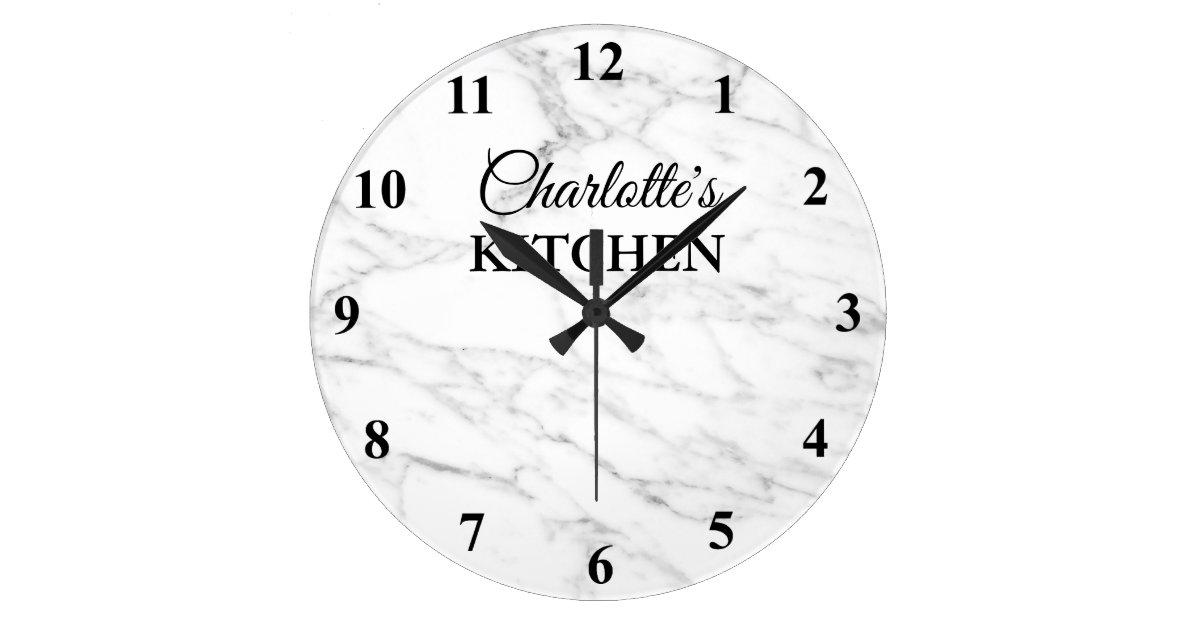 Classy White Marble Stone Kitchen Wall Clock Zazzle Com