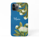Classy White Peonies Floral Bouquet with Navy Blue iPhone 11 Pro Case