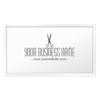 Classy White Scissor Hair Stylist Business Card