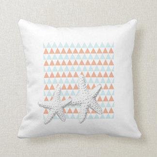 Classy White Starfish Couple Triangle Pattern Throw Pillow