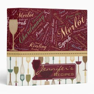 Classy Wine Word Art Recipe Binder
