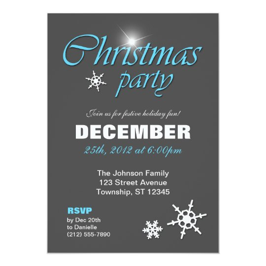 Classy Winter Blue Christmas Party Invitations