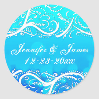 Classy Winter Blue Flourishes Save the Date Seal Classic Round Sticker