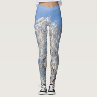 Classy Winter Frost Tree and Branch Designed Leggings