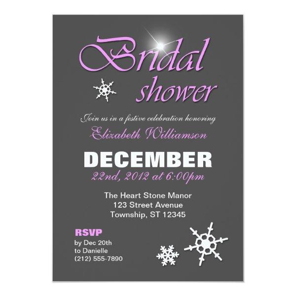 Classy Winter with Purple Bridal Shower Invitation