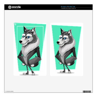 Classy Wolf Cartoon Decals For Kindle Fire