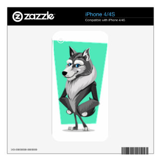 Classy Wolf Cartoon iPhone 4S Decals
