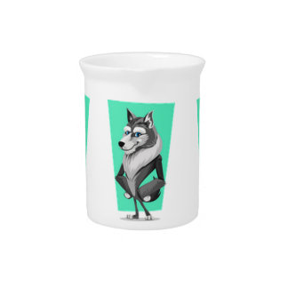 Classy Wolf Cartoon Pitcher