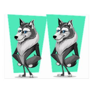 Classy Wolf Cartoon Postcard