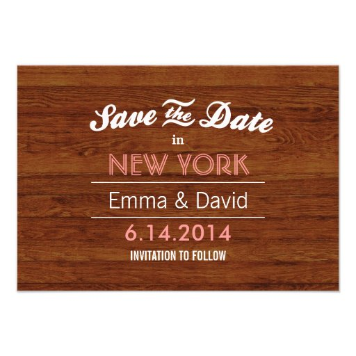 Classy Wood Background Save the Date Cards
