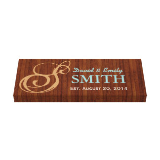 Classy Wood Family Established Family Name Sign Canvas Print