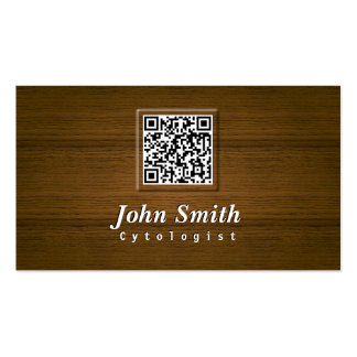 Classy Wood QR Code Cytologist Business Card