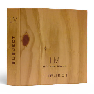 classy wood texture, rustic & personalized binder