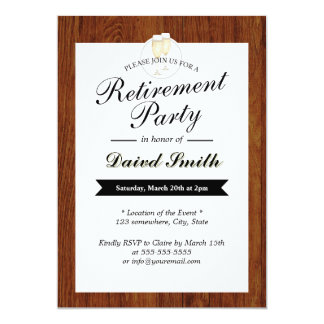 Classy Wooden Retirement Party Invitations