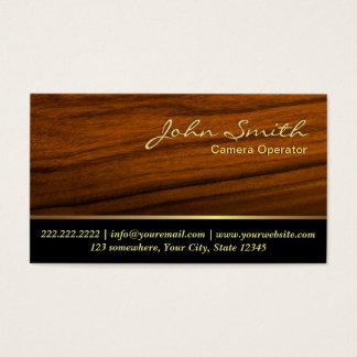 Classy Woodgrain Camera Operator Business Card