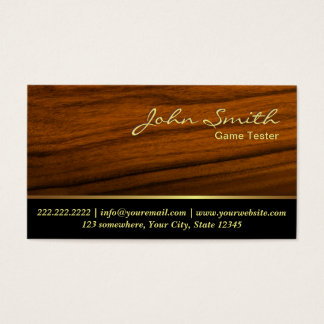 Classy Woodgrain Game Testing Business Card