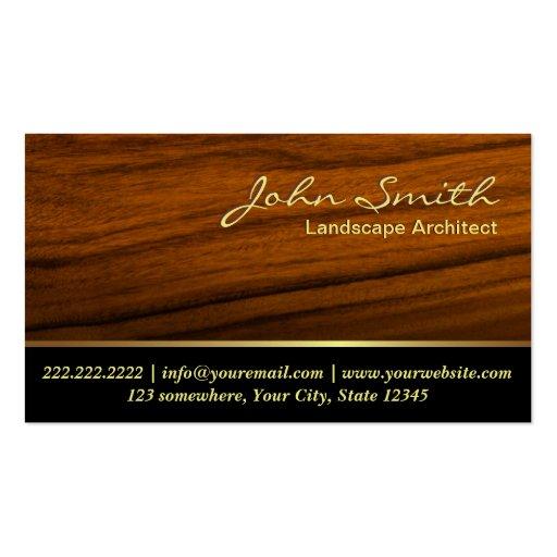 Classy Woodgrain Landscape Architect Business Card
