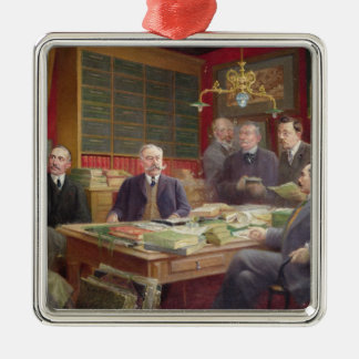 Claude Auge  in his Office with his Colleagues Metal Ornament