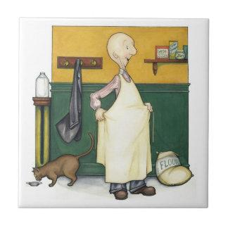 Claude el panadero - preparación de la mañana azulejo cuadrado pequeño
