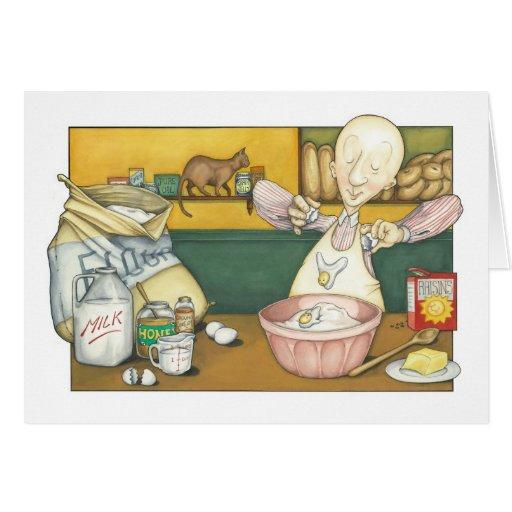 Claude el panadero que hace la pasta tarjeta de felicitación
