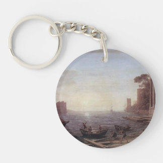 Claude Lorrain- A Seaport at Sunrise Single-Sided Round Acrylic Keychain