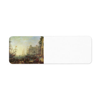 Claude Lorrain- Harbour with Villa Medici Custom Return Address Labels