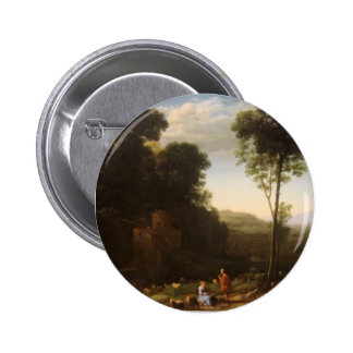 Claude Lorrain- Pastoral Landscape with a Mill Pinback Button