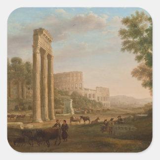 Claude Lorrain - ruinas del foro romano Pegatina Cuadrada