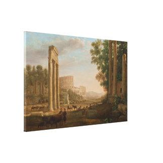 Claude Lorrain - Ruins of the Roman forum Canvas Print