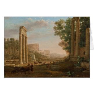 Claude Lorrain - Ruins of the Roman forum Greeting Card
