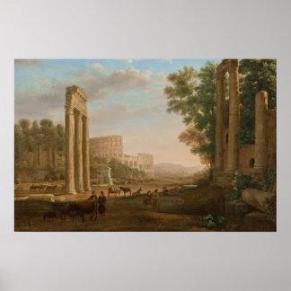 Claude Lorrain - Ruins of the Roman forum Print