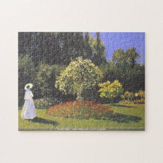 Claude Mone - Jeanne Marguerite Lecadre in garden Jigsaw Puzzle