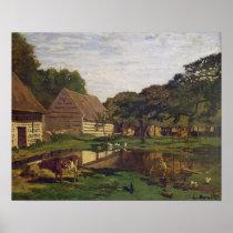 Claude Monet | A Farmyard in Normandy Poster