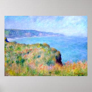 Claude Monet: Acantilado cerca de Pourville Poster