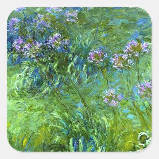 Claude Monet Agapanthus Calcomanía Cuadradas