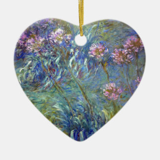 Claude Monet Agapanthus Double-Sided Heart Ceramic Christmas Ornament