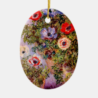 Claude Monet: Anemones Double-Sided Oval Ceramic Christmas Ornament