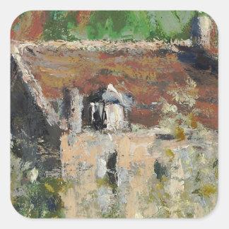 Claude Monet - árboles de ciruelo florecientes Pegatina Cuadrada