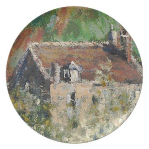 Claude Monet - árboles de ciruelo florecientes Plato Para Fiesta
