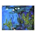 Claude Monet art: Water-Lilies, blue indigo Postcard