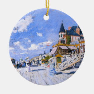 Claude Monet: At the Beach of Trouville Double-Sided Ceramic Round Christmas Ornament